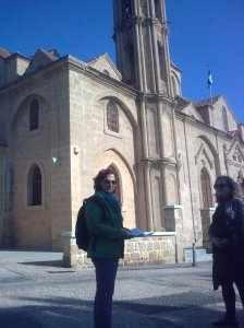 our walk leader outside Santa Barbara church, Kaimakli